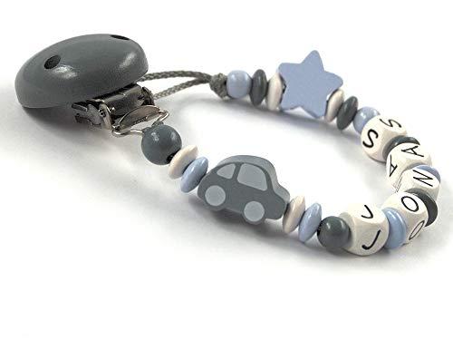 Schnullerkette mit Namen für Jungen bis 7 Buchstaben Auto Stern - grau pastellblau weiß Holz - geprägte Holzbuchstaben - Baby - Handarbeit