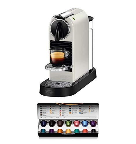 Nespresso De'Longhi Citiz EN167.W - Cafetera monodosis de cápsulas Nespresso, compacta, 19 bares, apagado automático, color blanco, Incluye pack de bienvenida con 14 cápsulas