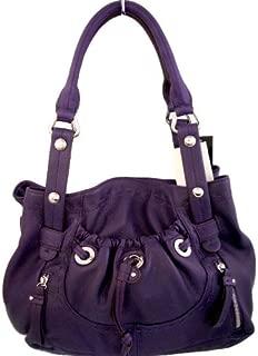 AUTHENTIC B. MAKOWSKY Grape Purple GLOVE LEATHER Double Handle POCKET SHOPPER (Handbags/Purses/Totes for Women)