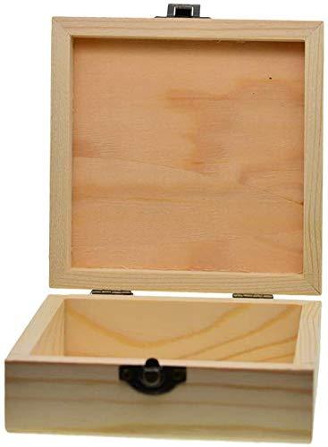 Caja de madera sencilla de madera, plegable, con tapa, decoración para