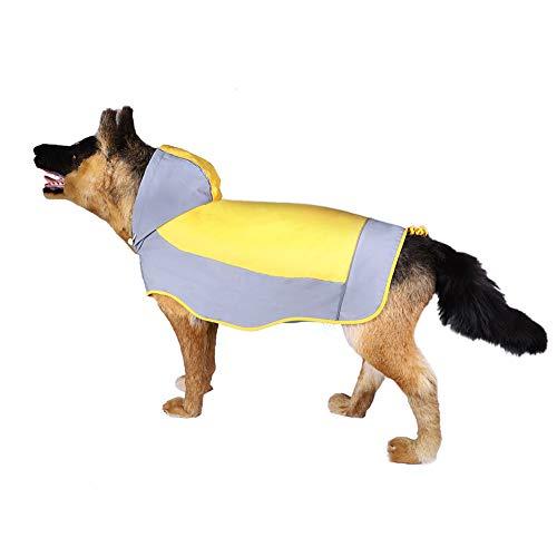 FUSHIDA Hond Draag Regenjas met Reflecterende Strip Hoodie, Regenwaterbestendige Sport Jassen voor Honden, S, Geel