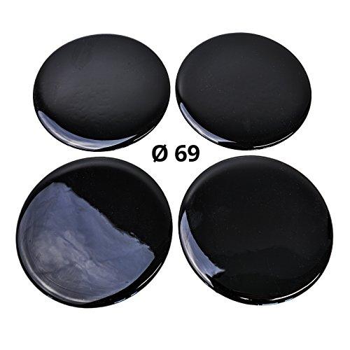 4x Silikon Aufkleber/Embleme für Nabenkappen | Motiv: Black/Schwarz | Durchmesser: 69 mm