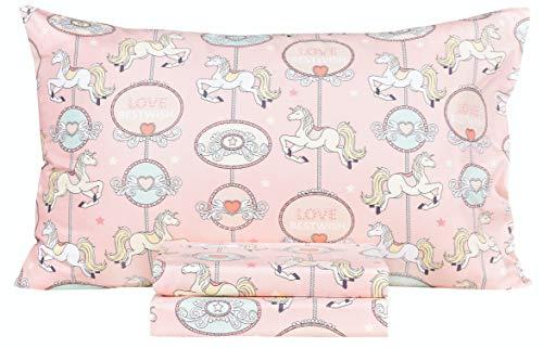 Scientific Sleep Carousel Horse Cotton Cozy Twin Bed Sheet Set, Flat Sheet & Fitted Sheet & Pillowcase Natural Bedding Set (Carousel, Twin)