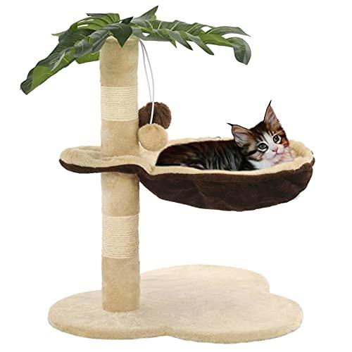 Ksodgun Katzen-Kratzbaum mit Sisal-Kratzstange Katzenmöbel Katzenbaum Spielhaus Spielzeug für Kätzchen Katzen 50 cm Beige und Braun