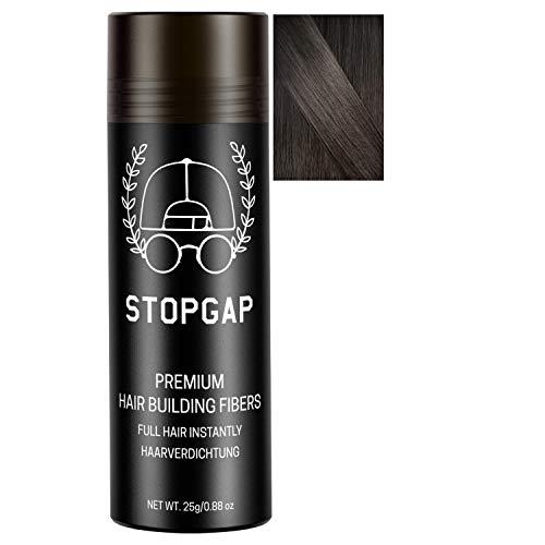 STOPGAP Haarpuder mit Soforteffekt in Premium Qualität - Das Streuhaar füllt lichtes Haar perfekt - Bei Haarausfall für Volumen - Haarverdichtung ideal für Männer und Frauen (Schwarz)