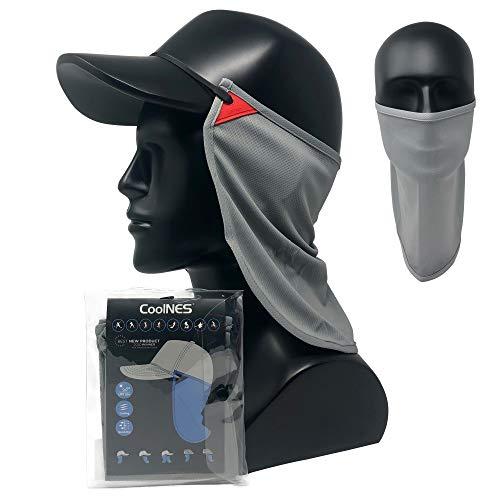 CoolNES Sonnenschutz für Nacken und Ohren | Abnehmbar & Einheitsgröße Kopfband Nackenschutztücher für Kappen | UVB 50+ | 5 Farben | 2020 Version (Gray)