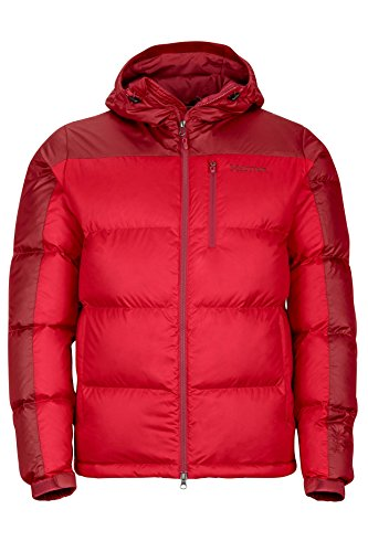 Marmot Men's Guides Down Hoody Winter Puffer Jacket, Fill Power 700, Team Red/Dark Crimson, Small