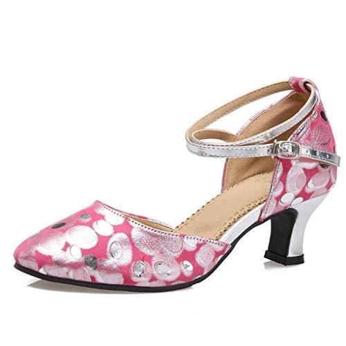 Latin Tanzschuhe, Tanzschuhe, Damen, Soft Bottom Tanzschuhe, Square Dance Schuhe, Tanzschuhe (Farbe : Rose, größe : 41 EU)