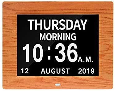 ZCHAO®le Kalender Dag Klok Zonder Afkorting Dag En Maand 8 Inch Digitale Kalender Wekker Week Tijd Alzheimer Horloges Oudere Horloges Ideaal Voor Ouder #21