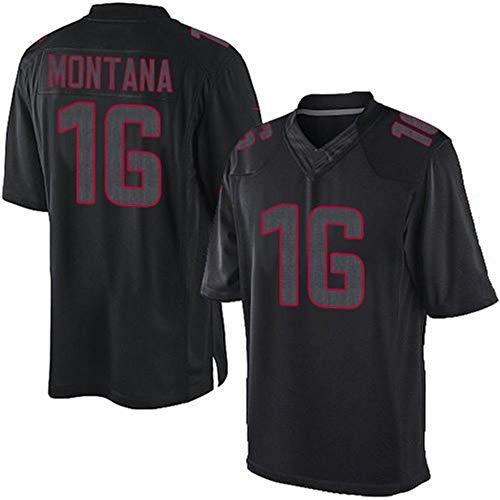 HUUH Montana 16# 49ers Rugby Jersey Sportswear Training Jersey Fan Sweat-Shirt T-Shirts pour Hommes, Broderie Fibre de Polyester à séchage Rapide Respirant Bon Match, Cadeau Parfait-Black-S