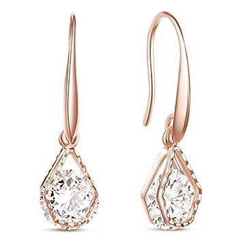 SHEGRACE Wedding Earrings for Bridesmaids Rose Gold Plated Hook Earrings Oval Dangle Earring Drop Earrings
