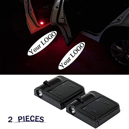 YCHCDR 2 szt. niestandardowe logo bezprzewodowy projektor drzwi samochodu oświetlenie na drzwi samochodu uprzejmość powitalne światła, puddle cień ducha światła LED - akceptuj niestandardowe dowolne logo (kolor: Czarny)