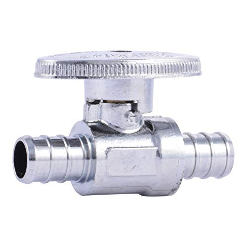 SharkBite 23063LF PEX Straight Shut Off Valve for Faucet or Toilet Installation, 1/2-Inch x 1/2-Inch, Silver