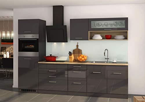 lifestyle4living Küche mit Elektrogeräten 290cm | Küchenzeile Küchenblock Einbauküche E-Geräte | Hochglanz Grau/Eiche Sonoma