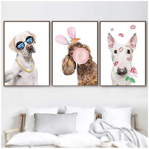 Kinderkamer Decor Cartoon Grappige Hond Ballon Muur Beeld Nordic Posters en Prints Dieren Canvas Schilderij voor Woonkamer-50x70cmx3 geen Frame