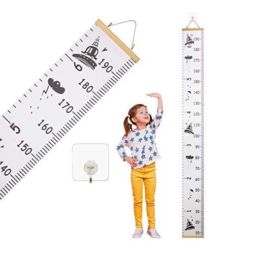 Lishang Tabla de Crecimiento Infantil Madera Gráfica de Altura Regla para Colgar en la Pared Gráficos de Crecimiento para Bebé Niños Dormitorio Guardería Escuela Habitacion Decor