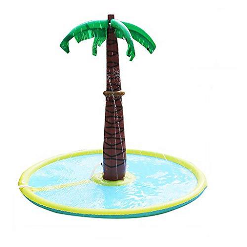 Espolvorear la palmera y el chapoteo del agua alfombra de juego, engrosamiento de PVC 70 '' inflable aerosol de agua del cojín inflable al aire libre Jardín de riego estera de agua for el bebé piscina