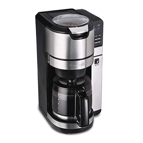 Hamilton Beach 45500 Grind and Brew Programmable 12 Cup Maker with Built-in Auto-Rinsing Coffee...