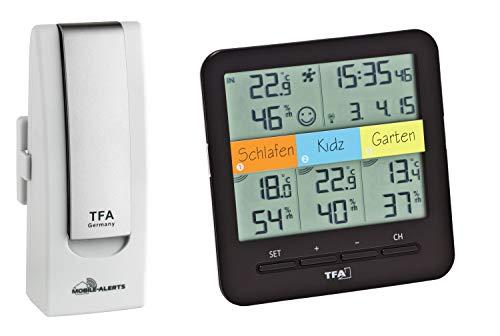 TFA Dostmann WeatherHub Starter Set Klima Funk-Thermo-Hygrometer, Smart Home, mit 3 Sendern, schwarz/weiß, L210 x B85 x H210 mm