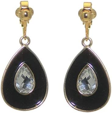 PLUNKSNA Gold plated Black Crystal Clip On Earrings