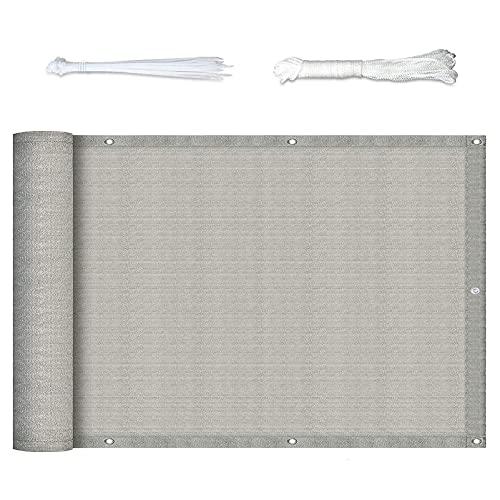 XIANPING Recinzione Copertura 0.8x7.5m Copri Ringhiera Balcone HDPE Ad Asciugatura Rapida con Occhielli Corde e Fascetta per Balcone, Piscina, Giardino, Grigio