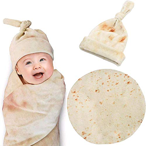 Burrito Swaddle Blanket for Baby,Zxtrby Original Tortilla Round Throw Blanket with Hat . Newborn...