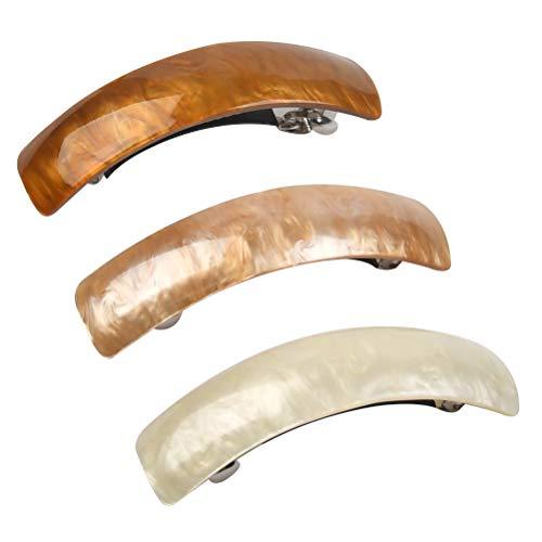 Klassische Retro-Haarspangen,Französische Haarspangen Rechteckig Automatische Haarspange für Damen,Feines Haar und Mitteldickes Haar,3 Stück
