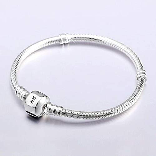 TTGE Never Fade Silver 925 Chain Charm Bracelet con S925 Logo Fit DIY Beads Charms Mujeres Hecho a Mano Joyería Original
