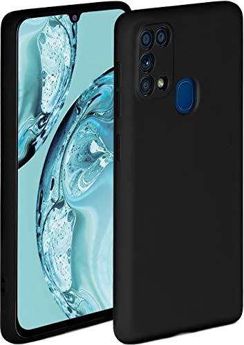 ONEFLOW Soft Hülle kompatibel mit Samsung Galaxy M31 Hülle aus Silikon, erhöhte Kante für Displayschutz, zweilagig, weiche Handyhülle - matt Schwarz