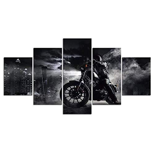 ETBGYKOU 5 Piezas de imágenes de Motocicleta Pintura sobre Lienzo póster Arte de Pared para Sala de Estar Impresiones HD Negro Blanco Imagen de piloto de Motocicleta 40x60 40x80 40x100cm sin Marco
