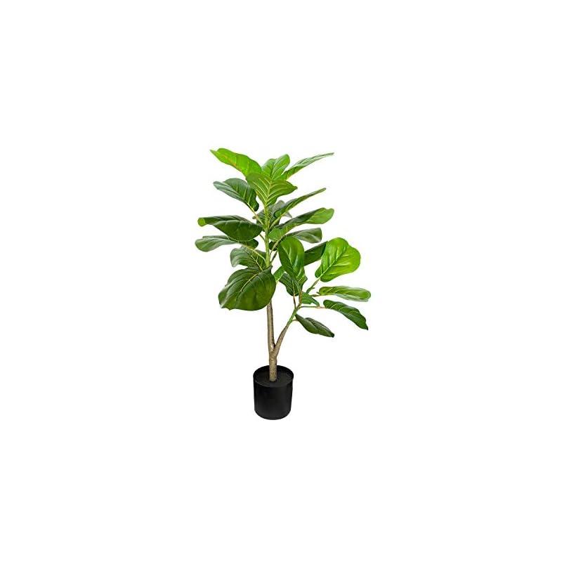 "silk flower arrangements besamenature artificial fiddle leaf fig tree, faux ficus lyrata plant for home office decoration, 30.2"" tall"