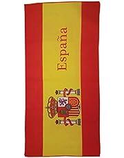 Strandhanddoek, bedrukt met de vlag Spanje - afmetingen 140 x 70 cm - 100% acryl