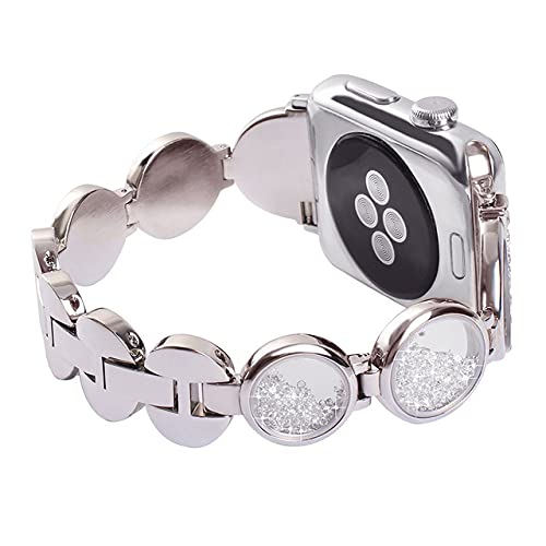 Correa de diamantes para Apple Watch 6 SE 5 4 3 Band 44mm 42mm 40mm 38mm Pulsera de arena gema Banda de reloj de acero inoxidable para iwatch