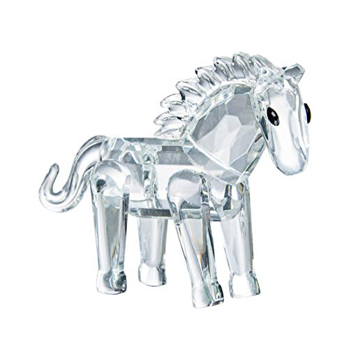 LONGWIN Crystal Animal Figurines Mini Glass Horse Statues Home Table Decoration Ornaments Collectible