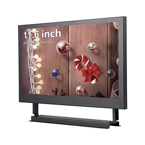 Kenowa 11.6 Zoll Tragbarer Monitor 1366x768 Display Bildschirm, mit HDMI VGA Hafen, Metallschale Eingebauter Lautsprecher, für Auto Backup Kamera PC TV Kamera Raspberry Pi Window 7 8 10 OS