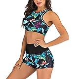 Bañador Deportivo Mujer, Dragon868 Dos Piezas Floral Impresión Traje de Baño 2020 Mujer Conjunto de Bikinis con Relleno Push Up, Shorts y Bermudas Bañadores Deportivos para Neopreno Surf,S-2XL