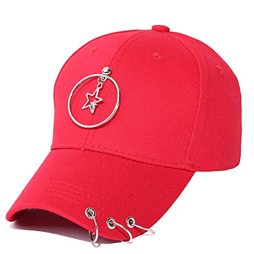 ASDEQW Women's Men's Hat Curved Visor Solid Color Baseball Cap Men's Hat Red
