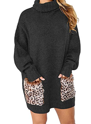 LOSRLY - Sudadera de cuello alto con bolsillos de leopardo, para mujer