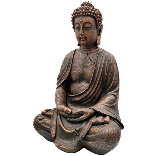 ZOWIE KING Meditating Buddha Statue Meditative Figurine - Grand Temple Buddha Sculpture Mindfulness Peace Harmony Buddha Indoor and Outdoor Décor(15.5 Inch)