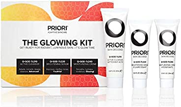 Priori Skincare Glowing Kit 3-Piece Travel Size Set for Women and Men Pore Refining Face Wash, 24-Hour Retinol Moisturizer, Brightening Serum Great for Beauty Gifts, Discovery & Travel Sets