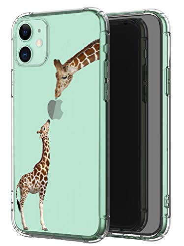 LUOLNH iPhone 11 Case,iPhone 11 Case for Women Girl,with 2 Screen Protective,Shockproof Clear Pattern Soft Flexible TPU Back Cover for iPhone 11 6.1 inch-Giraffe Love