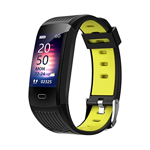 H HILABEE Reloj Inteligente para teléfonos Android y teléfonos iOS Compatible con , IP68 natación Reloj Inteligente Impermeable Fitness Tracker - Negro Amarillo