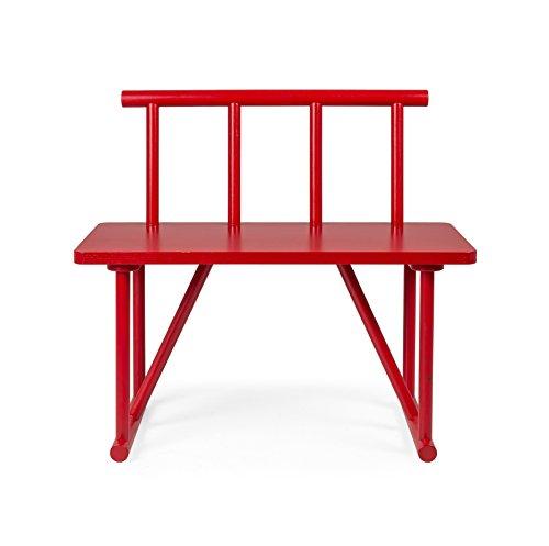 Tenzo 4030-928 grano legno panca Designer, rosso rilaccati, 42 x 84 x 77 cm