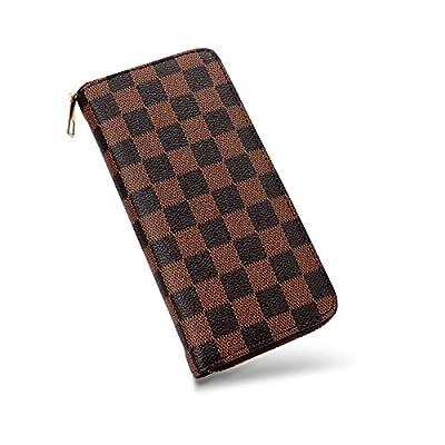 Amazon - 50% Off on Checkered Womens Wallet – Vegan Leather Zip Around Wallet Retro