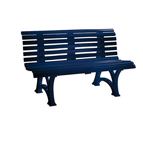 Parkbank aus Kunststoff - mit 13 Leisten - Breite 1500 mm, stahlblau - Bank Gartenbank Kunststoff-Bank Kunststoff-Bänke Ruhebank