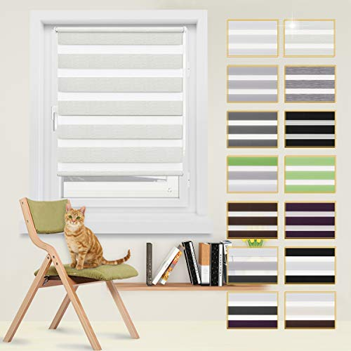 Doppelrollo, Rollos, Seitenzugrollo Easyfix, Klemmfix ohne Bohren, Sonnen- und Sichtschutz für Fenster und Tür Creme, 45 x 150 cm