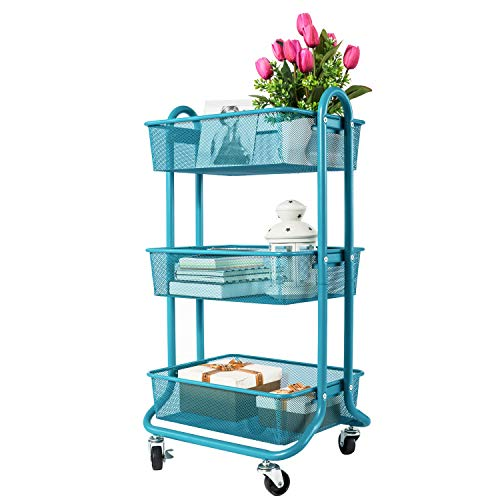 DESIGNA 3-Tier Metal Mesh Rolling Storage Cart with Utility Handle, Turquoise