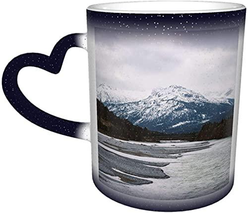Tasse à café montagnes alpes rivière magique sensible à la chaleur tasse à changement de couleur dans le ciel tasses à café cadeaux personnalisés pour les amoureux de la famille am