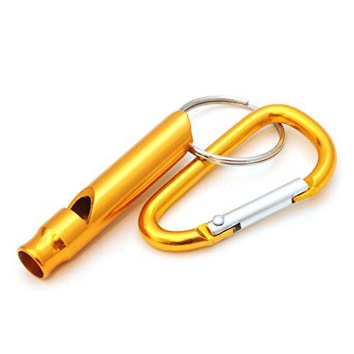 Ganzoo compact hond fluitje, training fluitje, met karabijnhaak, survival fluitje voor buiten, sleutel fob, kleur: Goud, merk: Ganzoo.