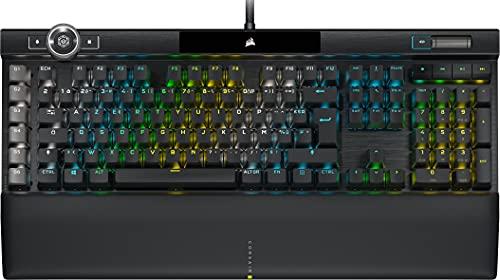 Corsair K100 RGB Clavier Gaming Mécanique (Switchs Mécaniques CHERRY MX SPEED: Rapide et Très Précis, Éclairage RGB, Repose-Poignet Cuir, intégration Elgato Stream Deck, AZERTY) Noir